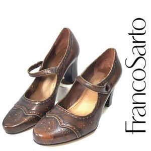 Franco Sarto Mary Jane Oxford Pumps Brown 7.5